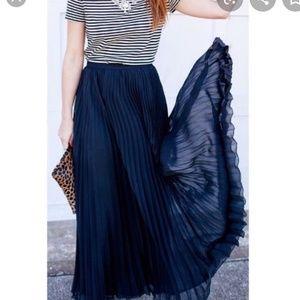 Skirts - Navy chiffon pleated maxi skirt